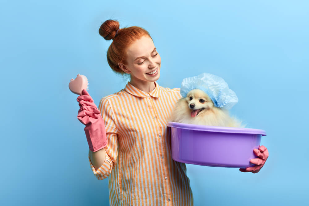 woman-bathes-grooms-her-dog-at-home