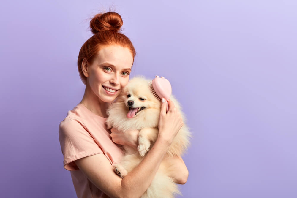 woman-brushes-her-dog-in-between-trips-to-groomer