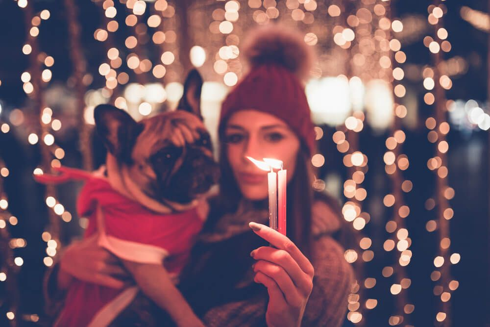 woman-holds-french-bull-dog-and-lit-candles-during-the-holidays