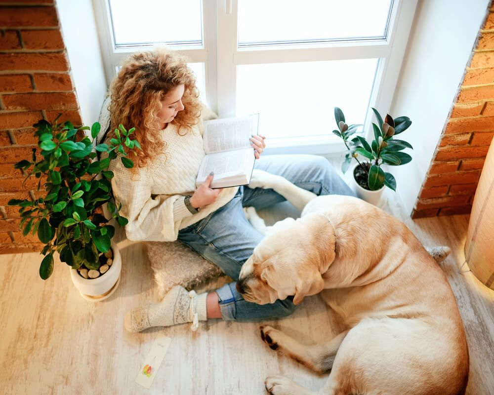 young-woman-catches-up-on-her-reading-while-dog-snuggles-up-at-her-feet